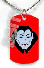 DRACULA VAMPIRE HALLOWEEN Dog Tag KEY CHAIN FOR COSTUME