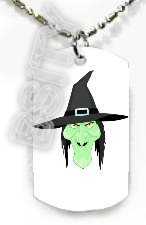WITCH HEAD HAG HALLOWEEN Dog Tag KEY CUTE CHAIN FOR COSTUME