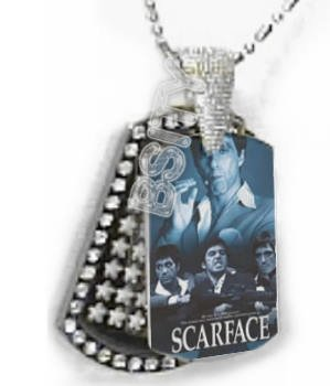 Iced OUT CZ SCARFACE BLUE Dog Tag BLING CHARM PENDANT