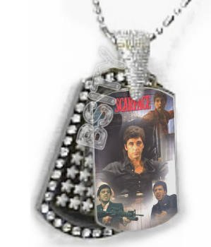 Iced OUT CZ SCARFACE POSTER Dog Tag BLING CHARM PENDANT
