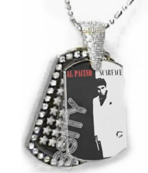 Iced OUT CZ SCARFACE AL PACINO Dog Tag BLING CHARM PENDANT