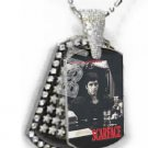 Iced OUT CZ SCARFACE PACINO Dog Tag BLING CHARM PENDANT