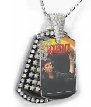 Iced OUT CZ SCARFACE TONY MONTANA Dog Tag BLING CHARM PENDANT