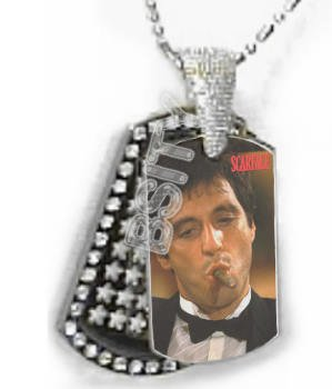 Iced OUT CZ SCARFACE CIGAR Dog Tag BLING CHARM PENDANT