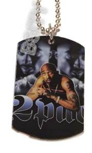 2PAC Tupac RIP PHOTO Dog Tag Charm SILVER #2 FREE CHAIN