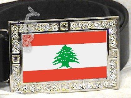 LEBANON Lebanese Republic FLAG BLING DARK CZ -FREE BELT- BUCKLE
