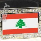 LEBANON Lebanese Republic FLAG BLING DARK CZ -FREE BELT- BUCKLE