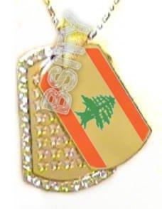 LEBANON Lebanese FLAG GOLD TONE Iced Out CZ BLING Dog Tag