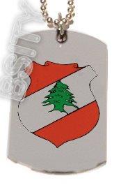 LEBANON LEBANESE EMBLEM Flag Dog Tag Silver Charm