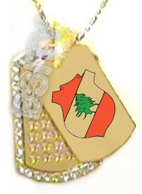 LEBANON Lebanese FLAG COAT OF ARMS GOLD TONE Iced Out CZ BLING Dog Tag