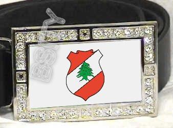 LEBANON Lebanese COAT OF ARMS FLAG BLING DARK CZ -FREE BELT- BUCKLE