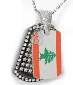LEBANON Lebanese Republic FLAG PENDANT Iced Out CZ BLING Charm Dog Tag tags