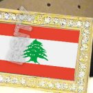 LEBANON Lebanese Republic FLAG GOLD BLING ICED OUT CZ BELT BUCKLE