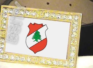 LEBANON Lebanese Republic COAT OF ARMS FLAG GOLD BLING ICED OUT CZ BELT BUCKLE