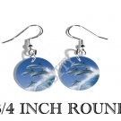 DOLPHINS SURFING OCEAN PHOTO FISH HOOK CHARM Earrings
