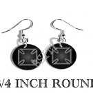 IRON CROSS GERMAN MALTESE PHOTO FISH HOOK CHARM Earrings