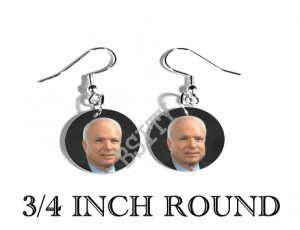 JOHN MCCAIN PRESIDENT PHOTO FISH HOOK CHARM Earrings