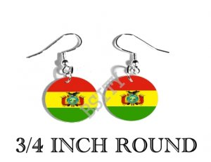 BOLIVIA BOLIVIAN Flag FISH HOOK CHARM Earrings