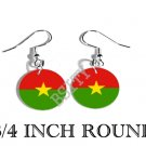 BURKINA FASO Flag FISH HOOK CHARM Earrings