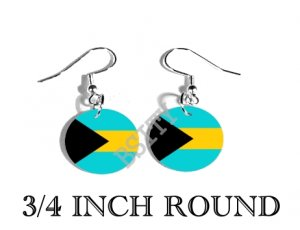 Bahamas Bahamian Flag FISH HOOK CHARM Earrings