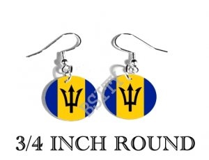 Barbadian BARBADOS Flag FISH HOOK CHARM Earrings