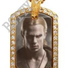 Iced Out CZ Gold TWILIGHT JAMES Photo Dog Tag BLING CHARM