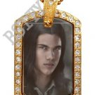 Iced Out CZ Gold TWILIGHT JACOB BLACK Photo Dog Tag BLING CHARM