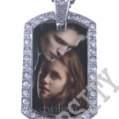 Iced OUT CZ TWILIGHT EDWARD BELLA PHOTO Dog Tag BLING CHARM PENDANT