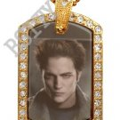 Iced Out CZ Gold TWILIGHT EDWARD Photo Dog Tag BLING CHARM