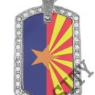 ARIZONA AZ STATE FLAG PENDANT Iced Out CZ BLING Charm Dog