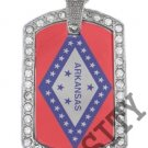ARKANSAS AR STATE FLAG PENDANT Iced Out CZ BLING Charm Dog Tag