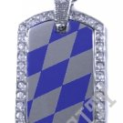 BAVARIA BAVARIAN FLAG PENDANT Iced Out CZ BLING Charm Dog Tag