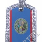 BELIZE BELIZIAN FLAG PENDANT Iced Out CZ BLING Charm Dog Tag