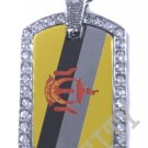 BRUNEI FLAG PENDANT Iced Out CZ BLING Charm Dog Tag