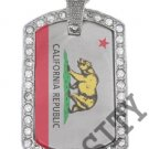 CALIFORNIA STATE FLAG PENDANT Iced Out CZ BLING Charm Dog Tag