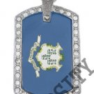CONNECTICUT STATE FLAG PENDANT Iced Out CZ BLING Charm Dog Tag