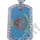 COUER D'ALENE INDIAN FLAG Iced Out CZ BLING Dog Tag
