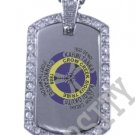 CROW CREEK SIOUX INDIAN FLAG Iced Out CZ BLING Dog Tag