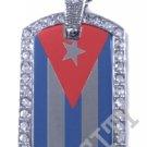 CUBA CUBAN FLAG PENDANT Iced Out CZ BLING Charm Dog Tag