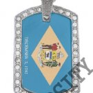 DELAWARE STATE FLAG PENDANT Iced Out CZ BLING Charm Dog Tag