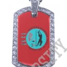 EASTERN SHAWNEE INDIAN FLAG Iced Out CZ BLING Dog Tag