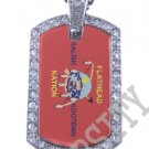 FLATHEAD NATION INDIAN FLAG Iced Out CZ BLING Dog Tag