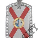 FLORIDA FL STATE FLAG PENDANT Iced Out CZ BLING Charm Dog Tag