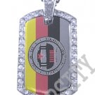 FLORIDA SEMINOLE INDIAN FLAG Iced Out CZ BLING Dog Tag