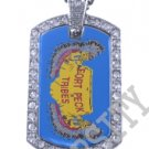 FORT PECK TRIBES INDIAN FLAG Iced Out CZ BLING Dog Tag