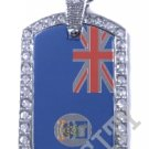 Falkland Islands MALVINAS FLAG PENDANT Iced Out CZ BLING Charm Dog Tag