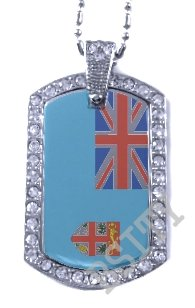 Fiji Fijian Islands FLAG PENDANT Iced Out CZ BLING Charm Dog Tag