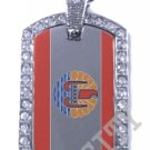 French Polynesia FLAG PENDANT Iced Out CZ BLING Charm Dog