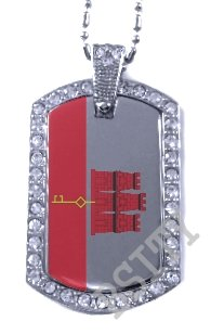 GIBRALTAR Gibraltarian FLAG Iced Out CZ BLING Charm Dog Tag