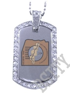 GILA RIVER INDIAN FLAG Iced Out CZ BLING Dog Tag